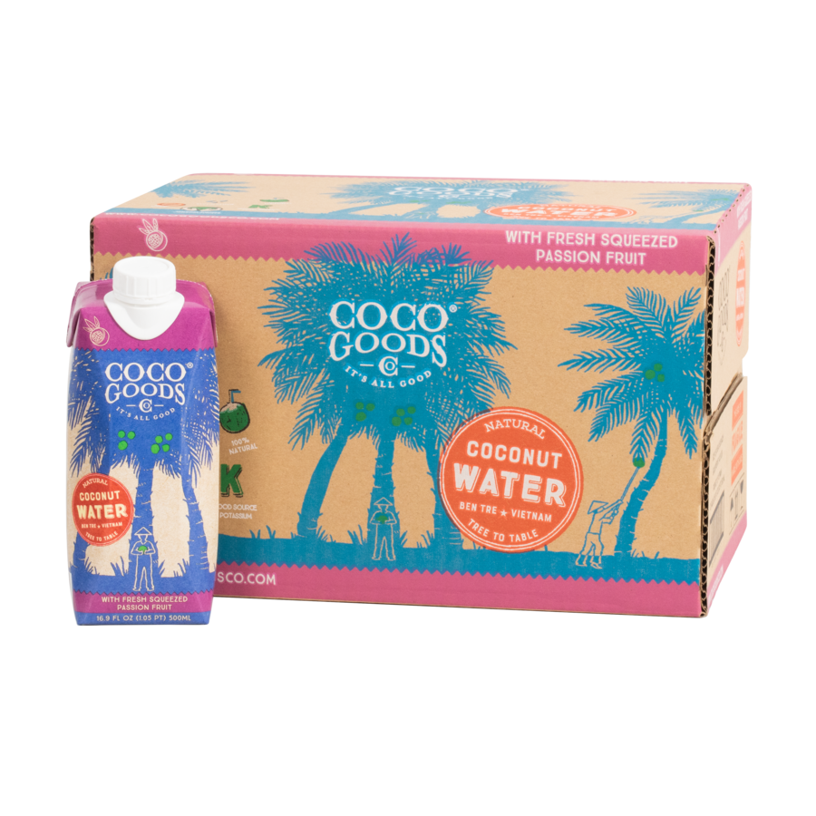 Natural Coconut Water with Freshly Squeezed Passion Fruit Juice 16.9 fl. oz, 12 pack