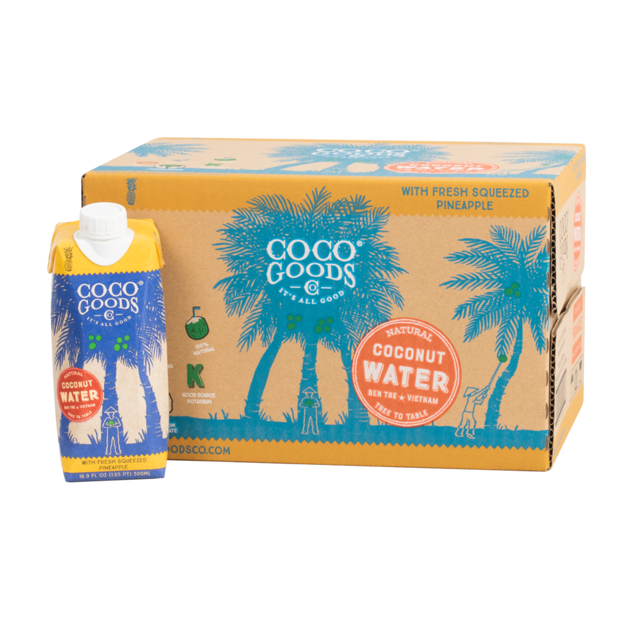 Natural Coconut Water with Freshly Squeezed Pineapple Juice 16.9 fl. oz, 12 Pack