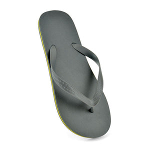 MENS PLAIN CONTRAST FLIP FLOPS GREY YELLOW