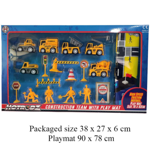 CONSTRUCTION VEHICLES WITH PLAYMAT