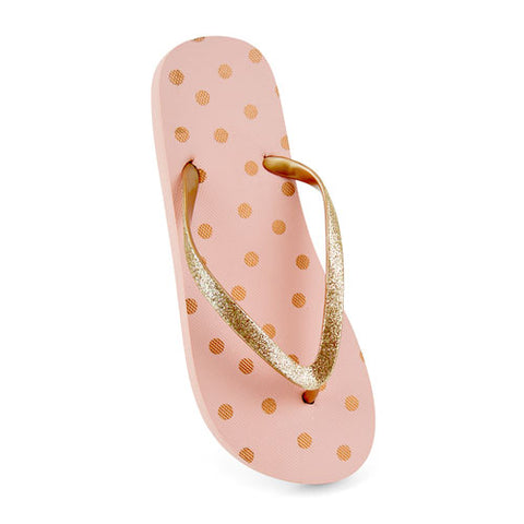 LADIES PINK AND GOLD SPOT PRINT FLIP FLOP