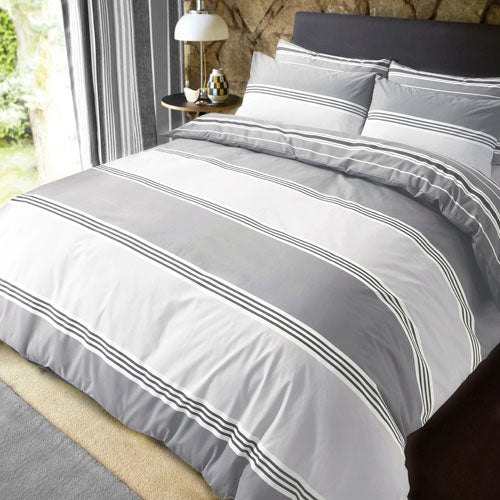 HOME COLLECTIONS BANDED STRIPE GREY DUVET SET