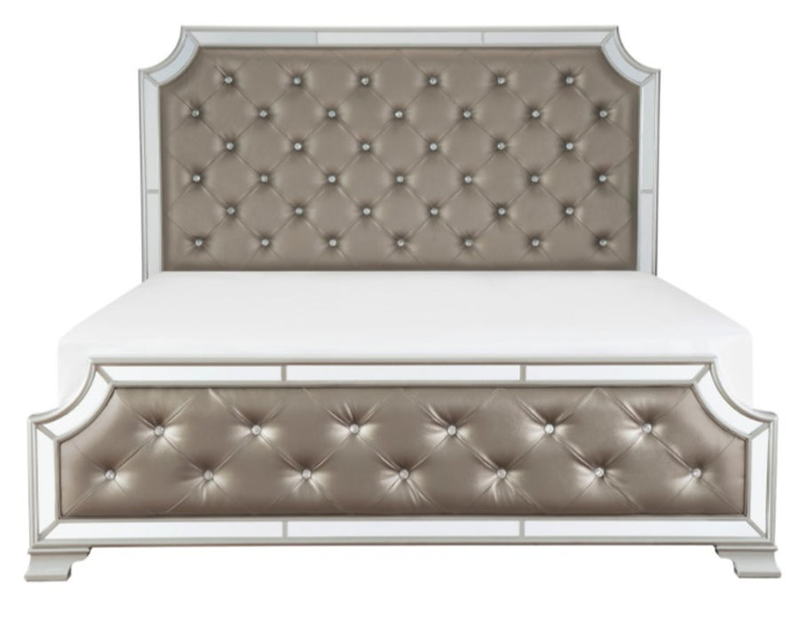 Homelegance Avondale Queen Upholstered Panel Bed in Silver 1646-1* image