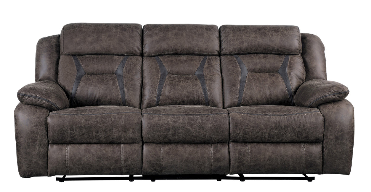 Homelegance Furniture Madrona Double Reclining Sofa in Dark Brown 9989DB-3 image