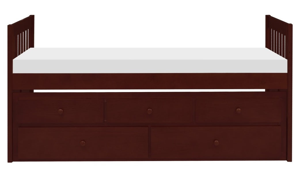 Homelegance Rowe Twin/Twin Trundle Bed w/ Two Storage Drawers in Dark Cherry B2013PRDC-1* image