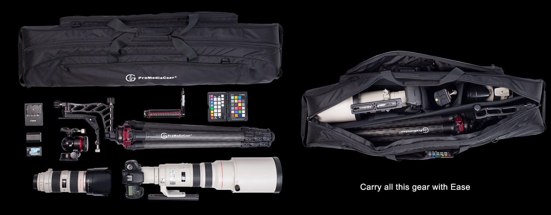 Adjustable Dividers in Bag Let you carry bag with Ball head or Gimbal Attached to Tripod