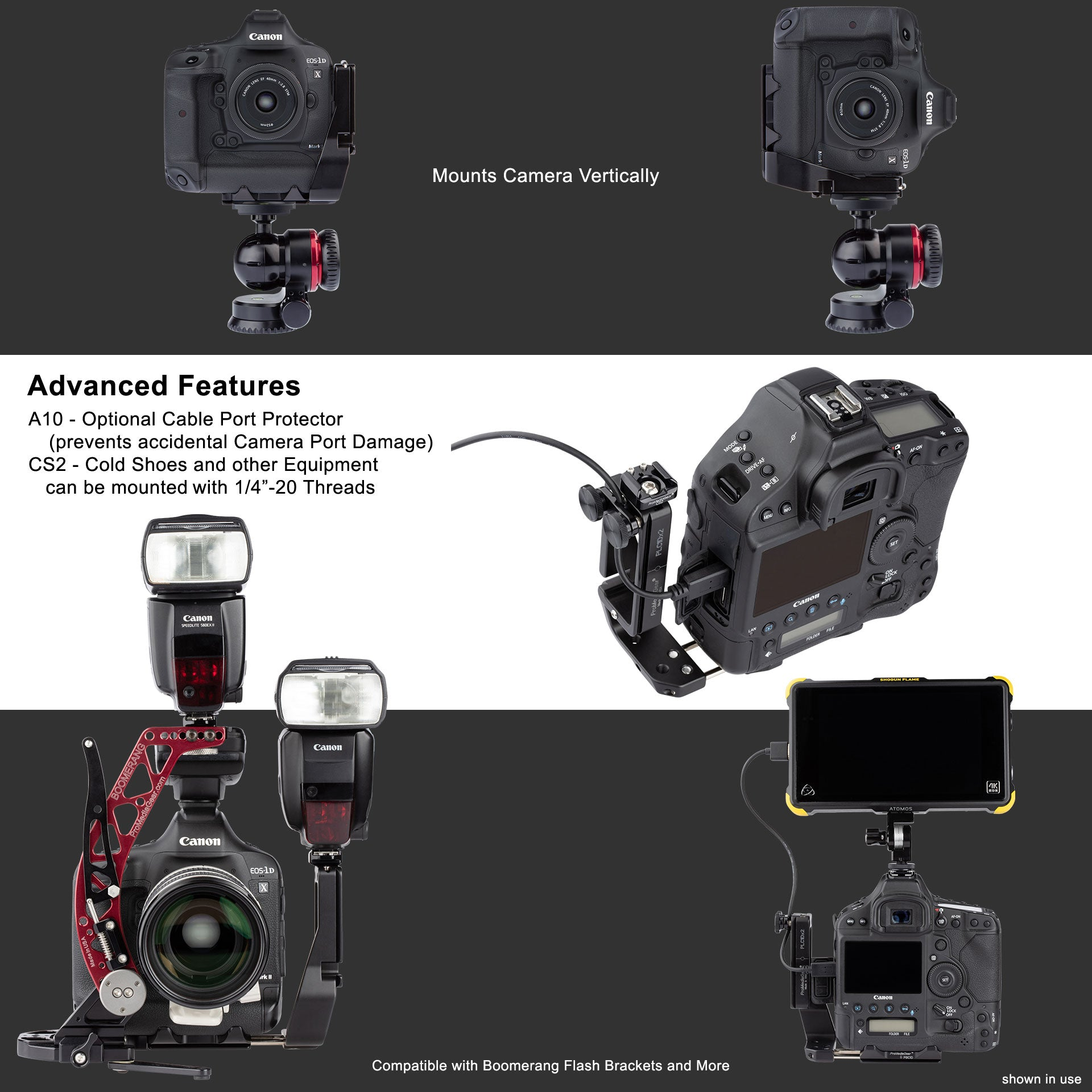 L-Bracket for Canon 1Dx Mark I and II