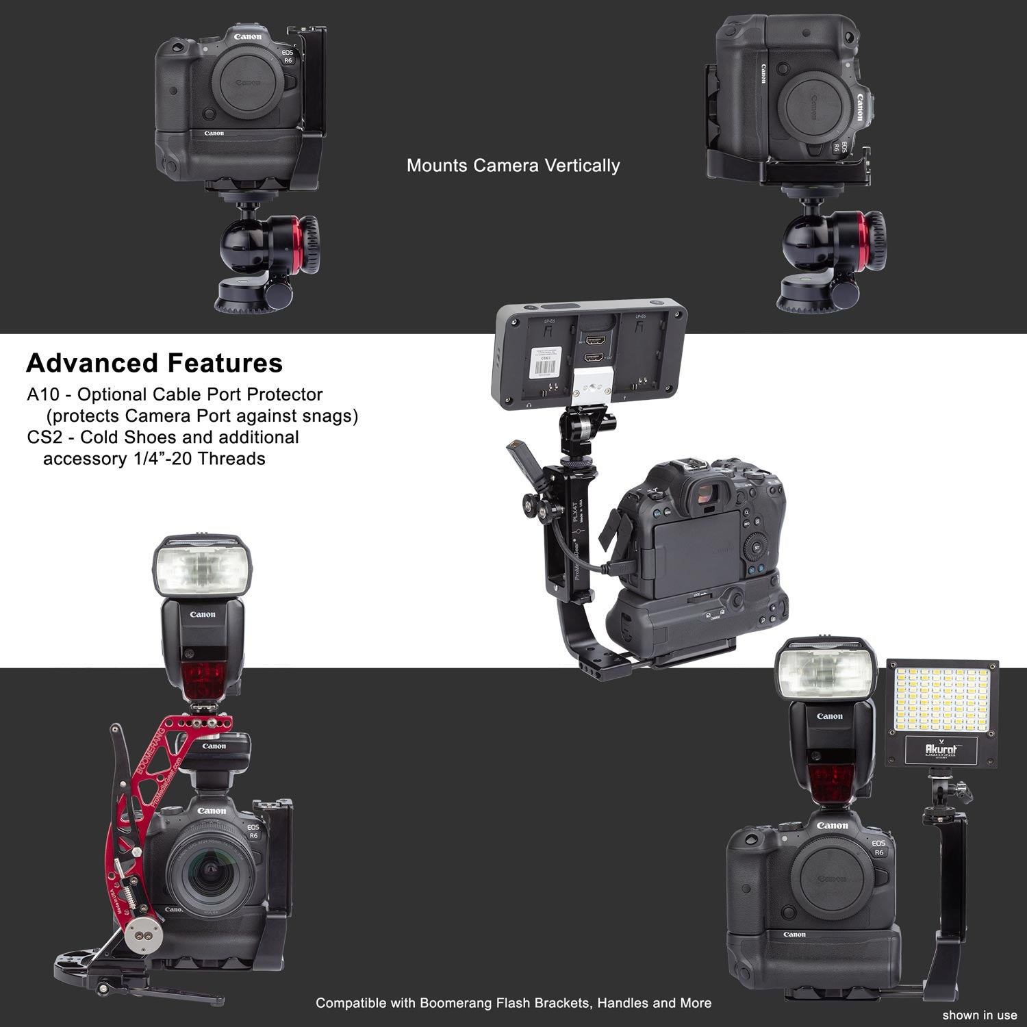 L-Bracket has been designed specifically for Canon R5 and R6 with BG-R10 Battery Grip For Strap Ports, Tripod, and Lenses like 200-500
