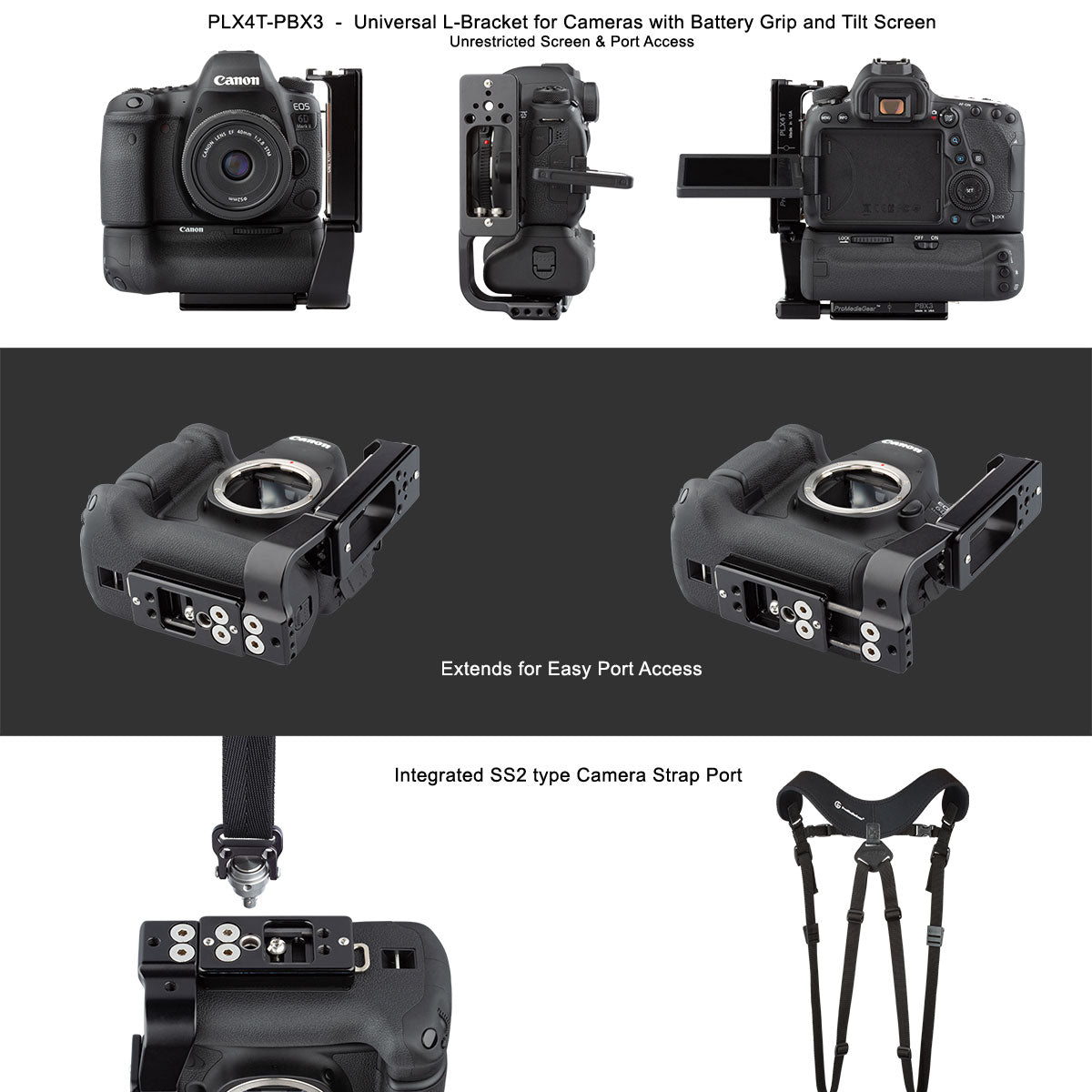 L-Bracket Plate for Canon Nikon Sony Mirrorless or DSLR with Tilt LCD Screens