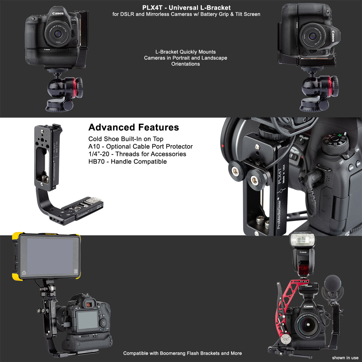 L-Bracket L-Plate for Professional Phtoographers, studio portrait landscape for DSLR and Mirrorless cameras from Sony Nikon and Canon 1dx 5D 7D 90D