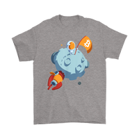Bitcoin Rocket to Moon T-Shirt BTC Flag on Moon Shirt