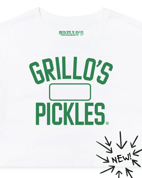 Women's Grillo's Pickles Varsity Crop Tee- White