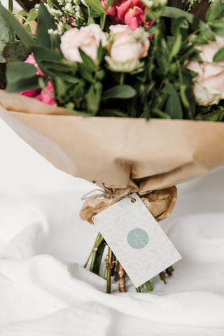 Eco friendly wrapping in a gift bouquet from Peony Blue floral design in Bournemouth