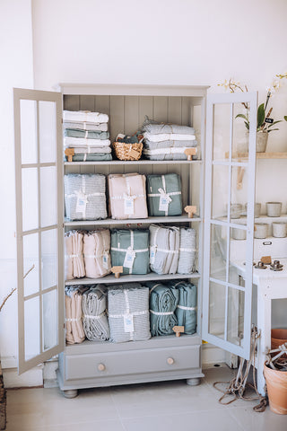 Linen bedding and homewares at Peony Blue Florist in Bournemouth
