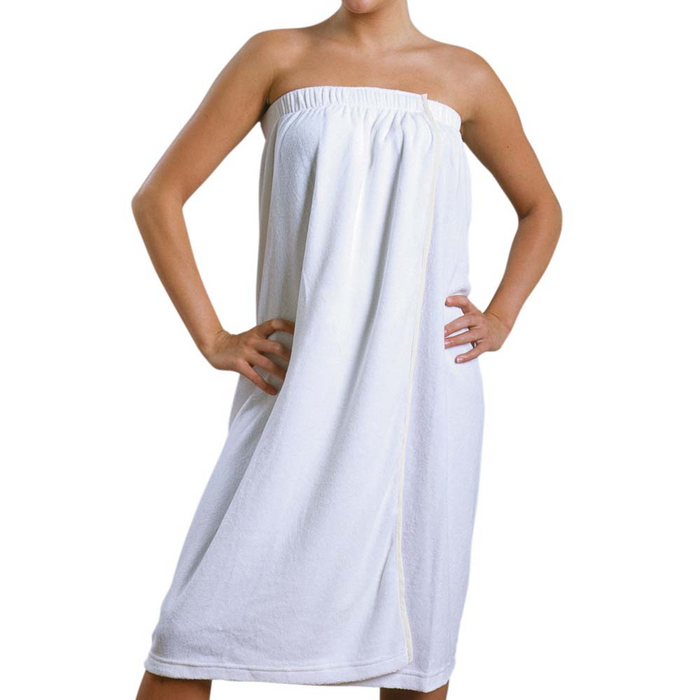 901A - Terrycloth Body Wrap with Velcro Enclosure White/Black