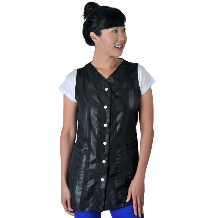Black Modern Striped Sleeveless Nylon Smock #BMS910
