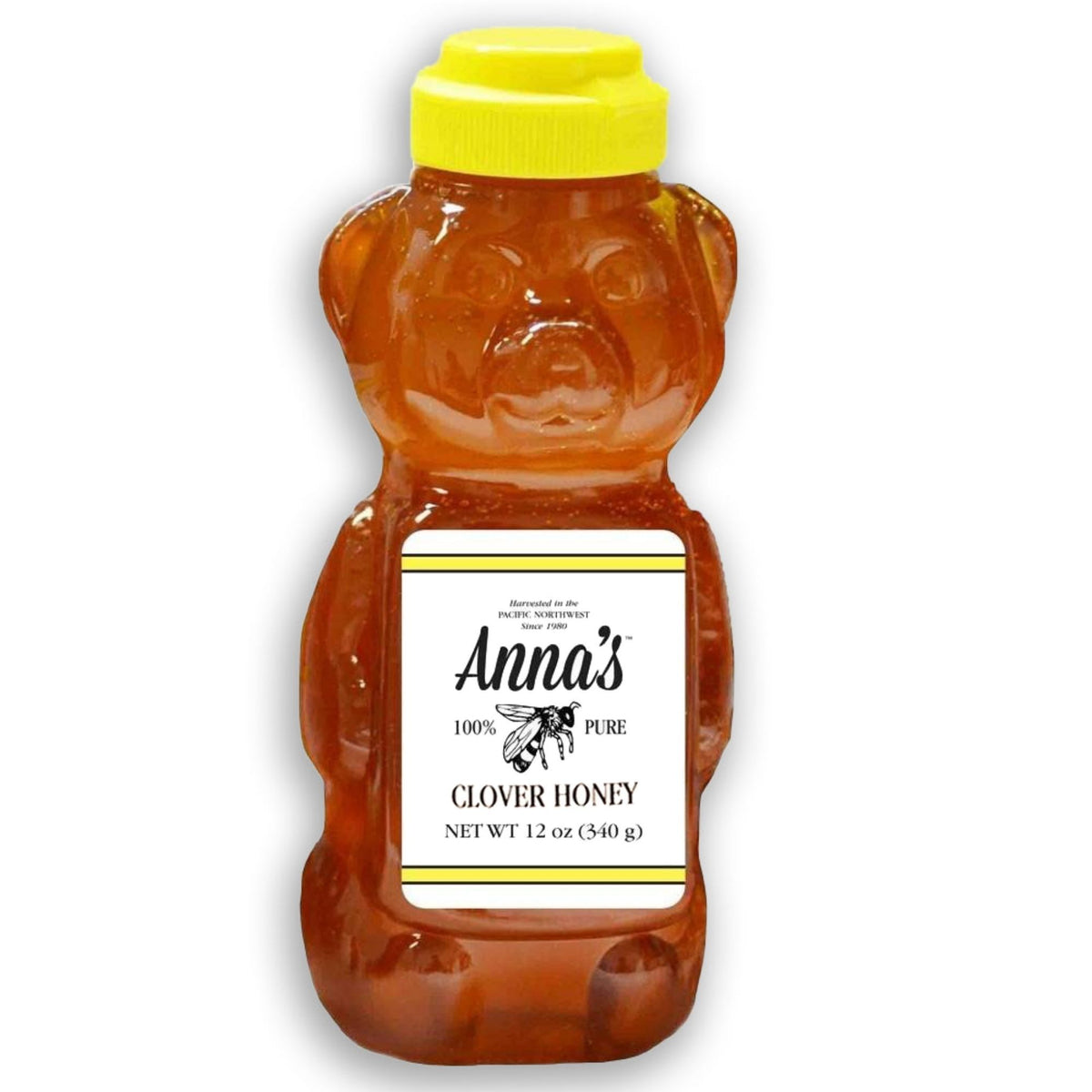Anna's 100% Pure Clover Honey Harvested in The Pacific Northwest and Put Inside a 12-Ounce Bear Bottle