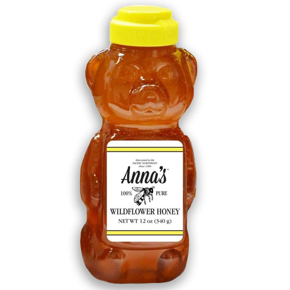 Anna's 100% Pure Wildflower Honey Harvested in The Pacific Northwest and Put Inside a 12-Ounce Bear Bottle