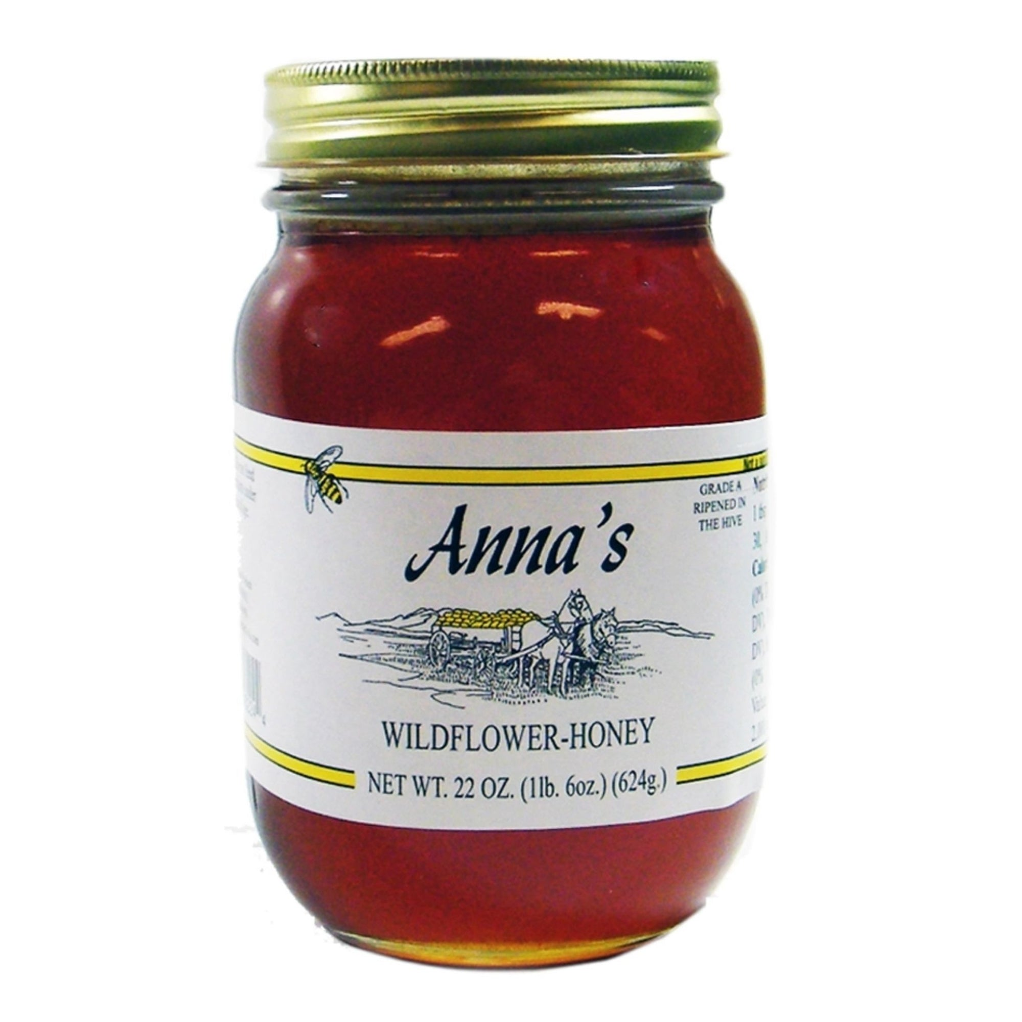 Anna's Wildflower Honey Harvested in the Pacific Northwest Since 1980 in a traditional 22-Ounce Mason Jar