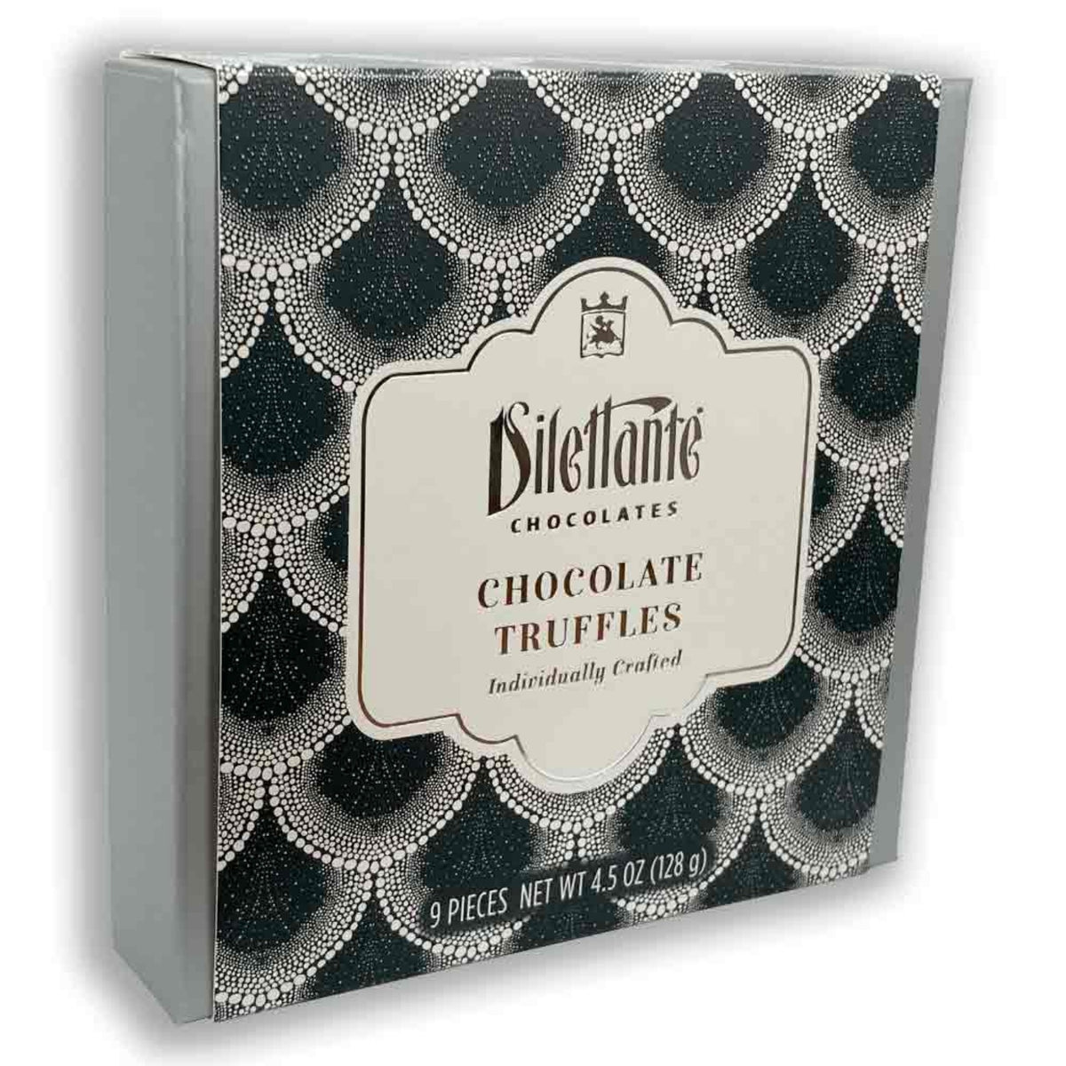 Dilettante Chocolates Individually Crafted Chocolates Truffles in a 9-Piece Black Gift Box
