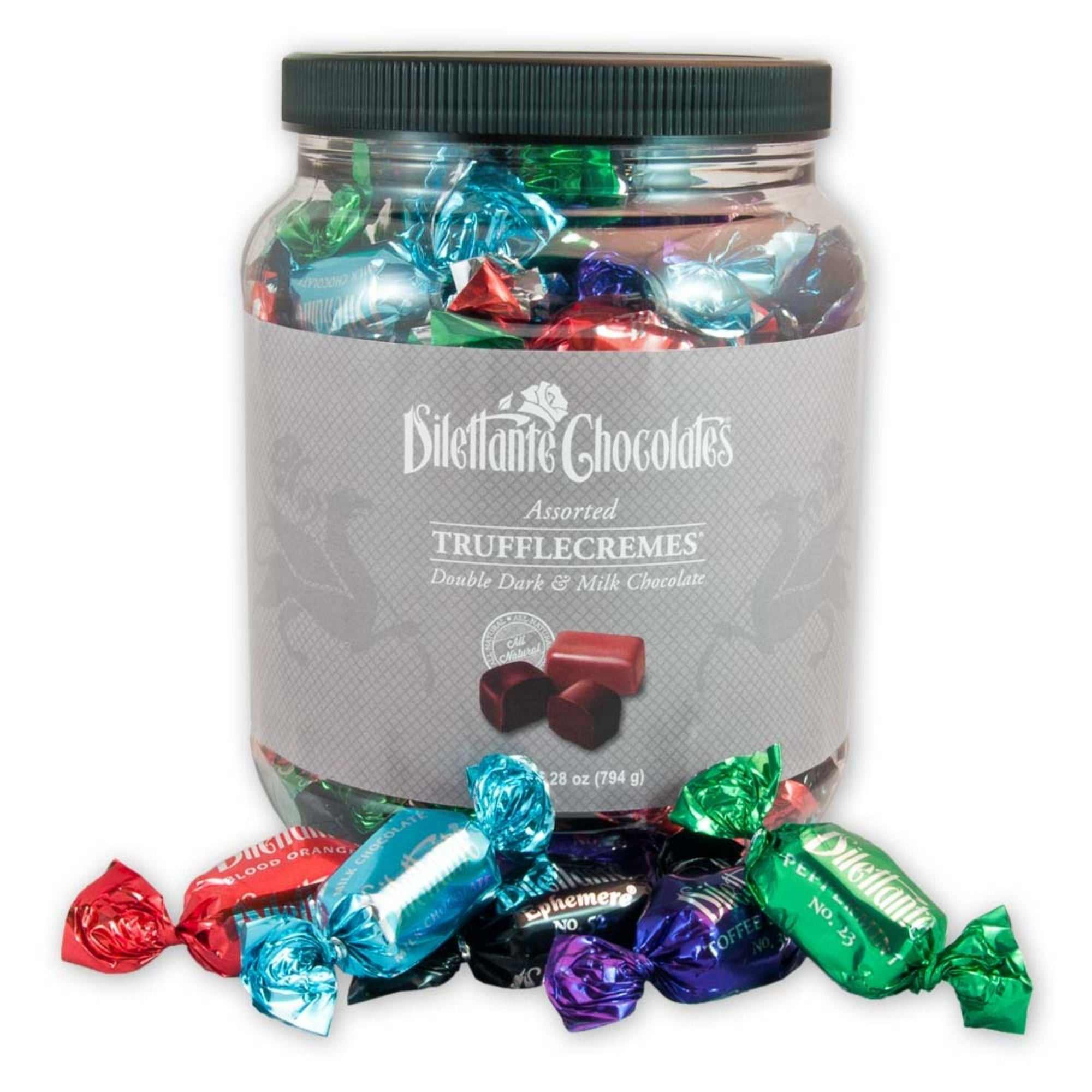 Dilettante Chocolates Assorted TruffleCremes 28-Ounce Jar Featuring Peppermint, Toffee Crunch, Dark Ephemere, Light Ephemere, and Blood Orange