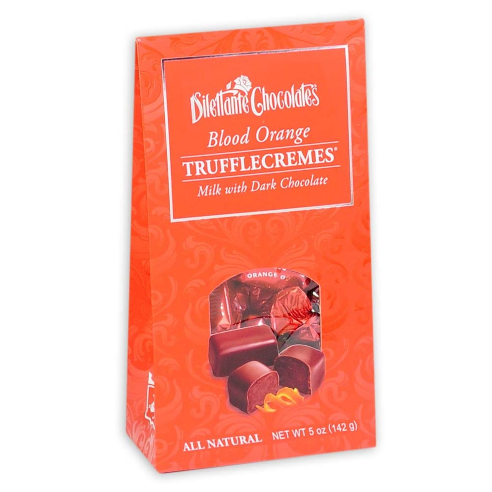 Dilettante Chocolates Blood Orange TruffleCremes Made With Dark Chocolate and All Natural Flavor in a Bright 5-Ounce Tent Box
