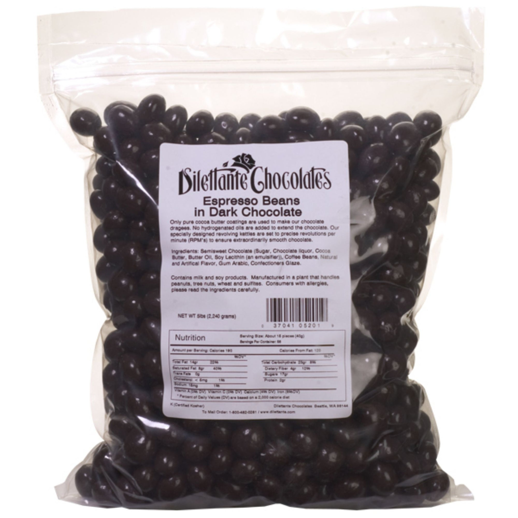 Dilettante Chocolates Espresso Beans in Dark Chocolate Placed Inside a 5-Pound Bulk Bag