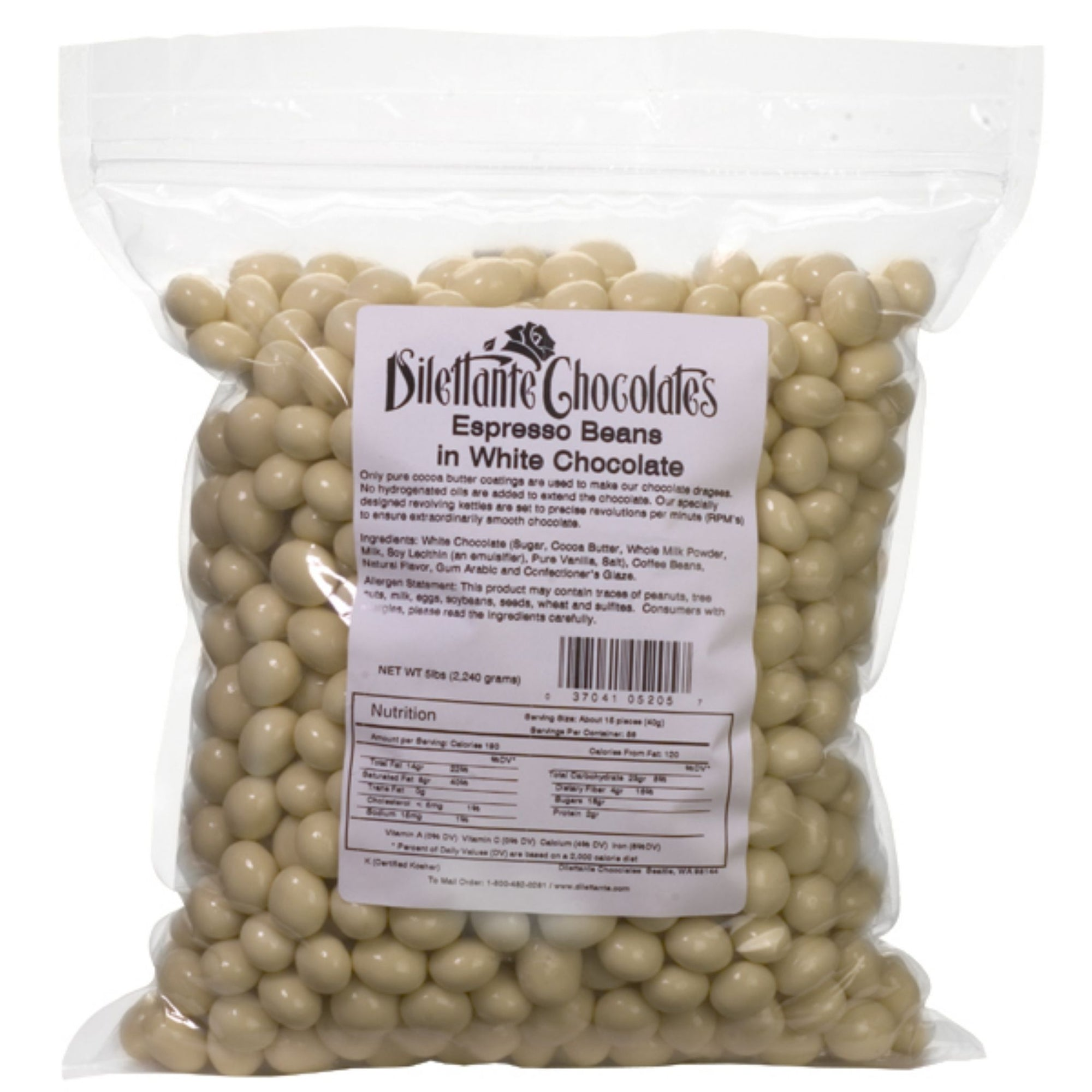 Dilettante Chocolates Espresso Beans in White Chocolate 5-Pound Bulk Bag for Sharing