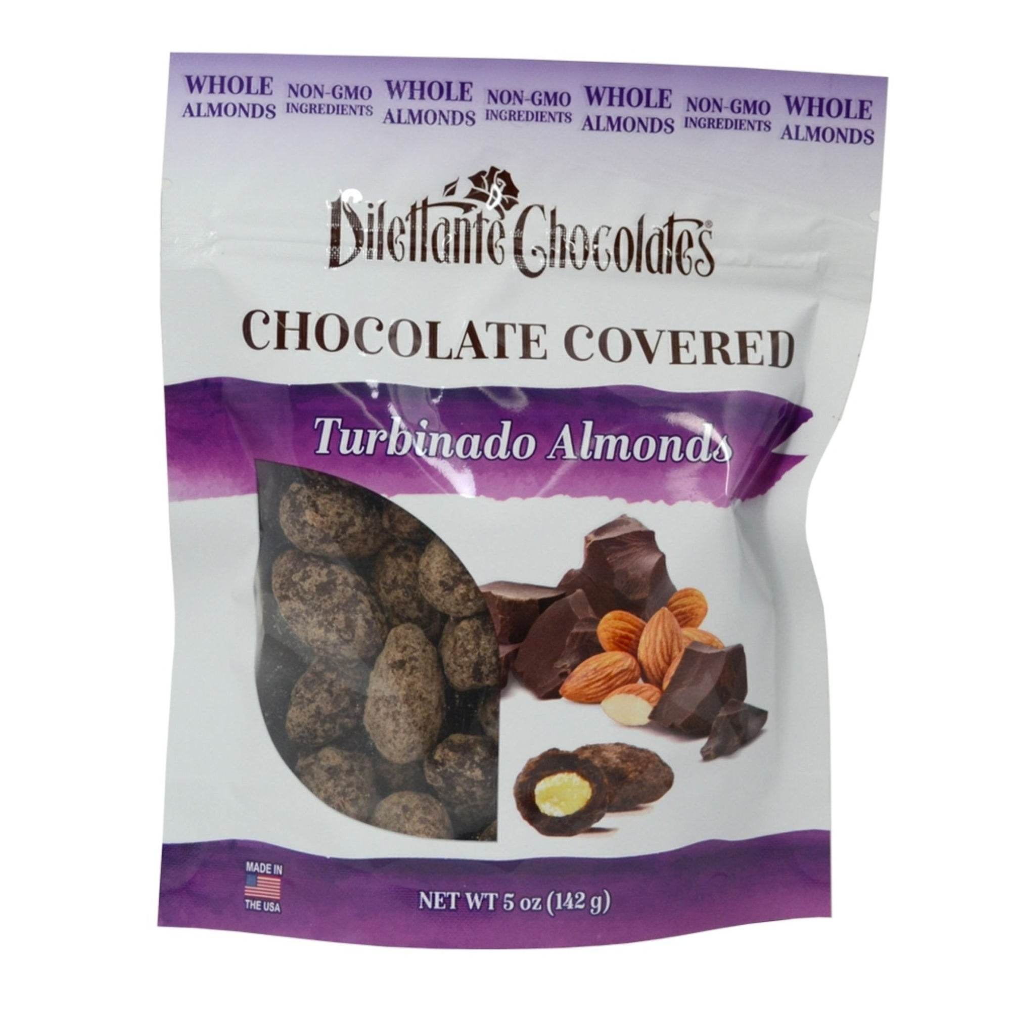 Dilettante Chocolates Chocolate-Covered Turbinado Almonds Made with Whole Almonds, Non-GMO Ingredients, and Gourmet-Quality Chocolate