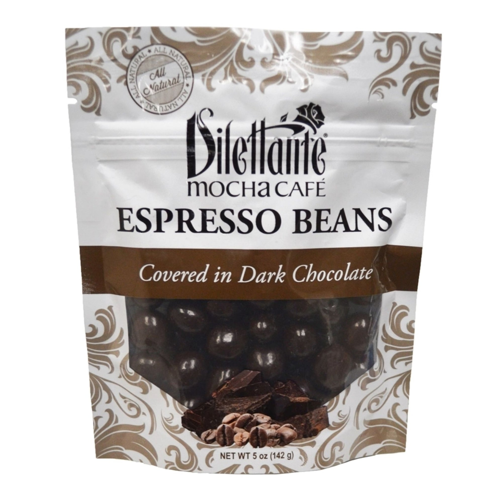 Dilettante Chocolates Chocolate-Covered Espresso Bean Blend Covered in Dark Chocolate