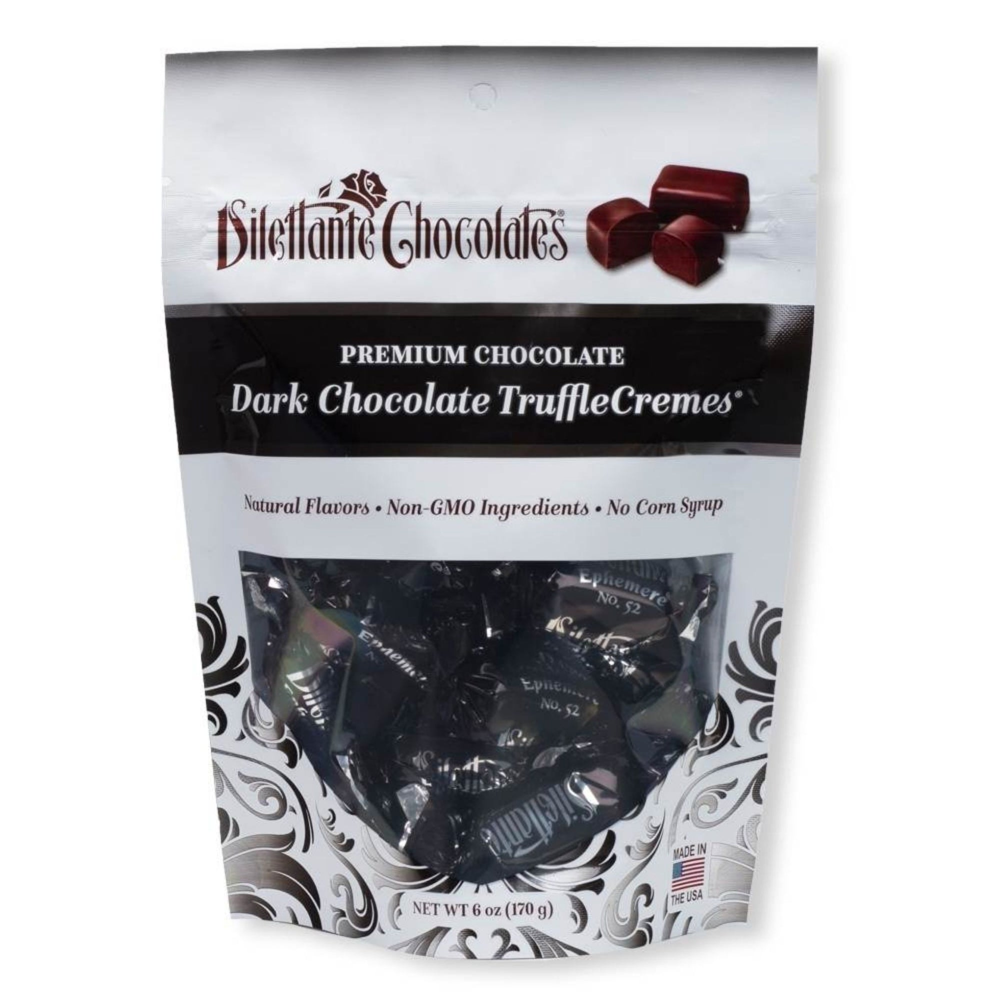 Dilettante Chocolates Premium Chocolate Dark Chocolate TruffleCremes with natural Flavors, Non-GMO Ingredients, and No Corn Syrup