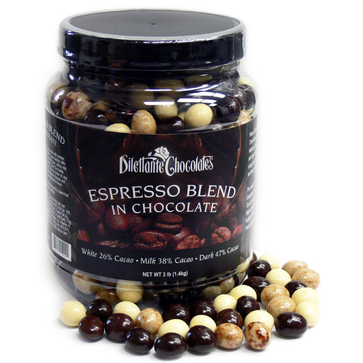 Dilettante Chocolates Bulk Chocolate-Covered Espresso Beans in a 3-Pound Jar Featuring Espresso Beans in Milk, White, and Dark Chocolate