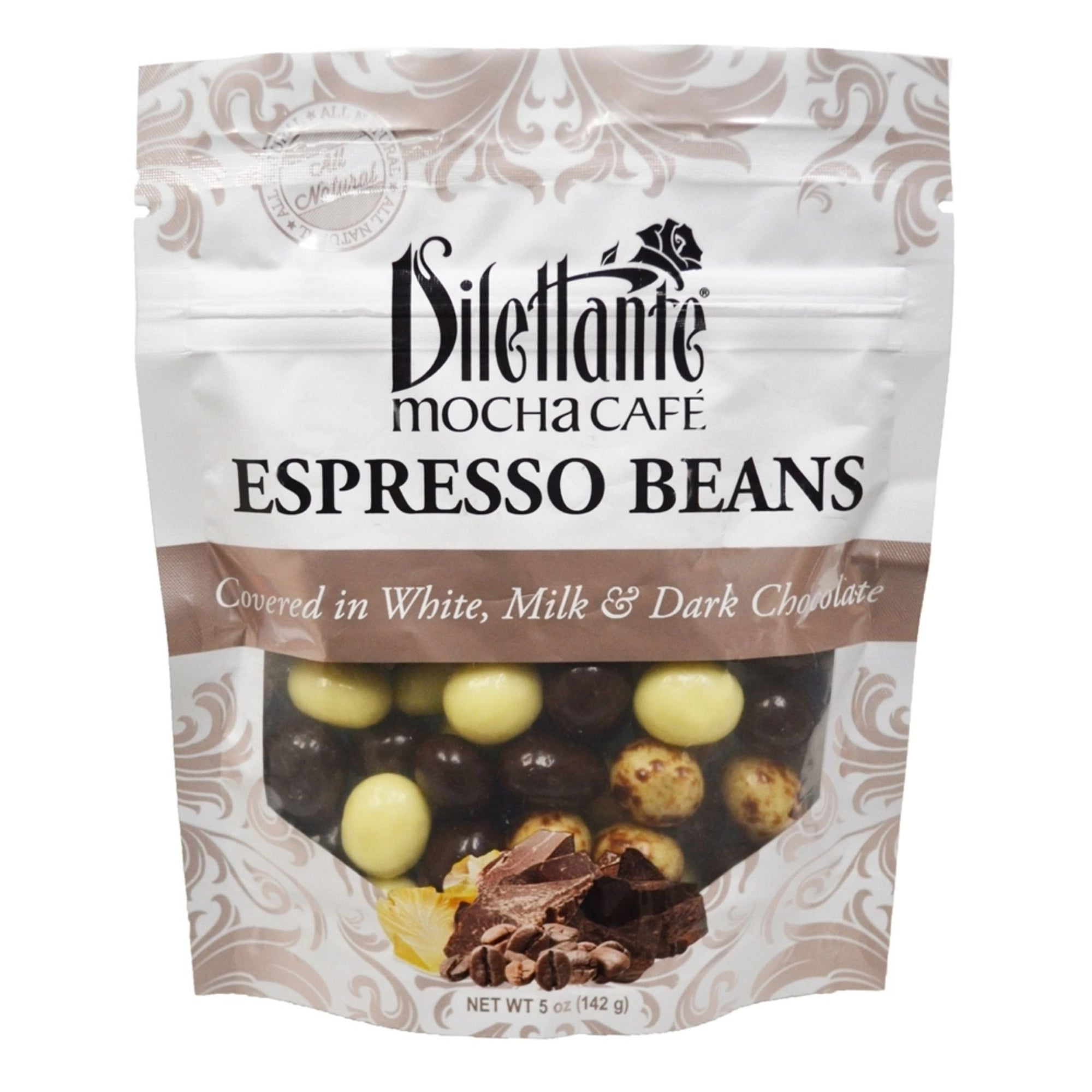 Dilettante Chocolate Mocha Cafe Espresso Beans Covered in White, Milk, and Dark Chocolate