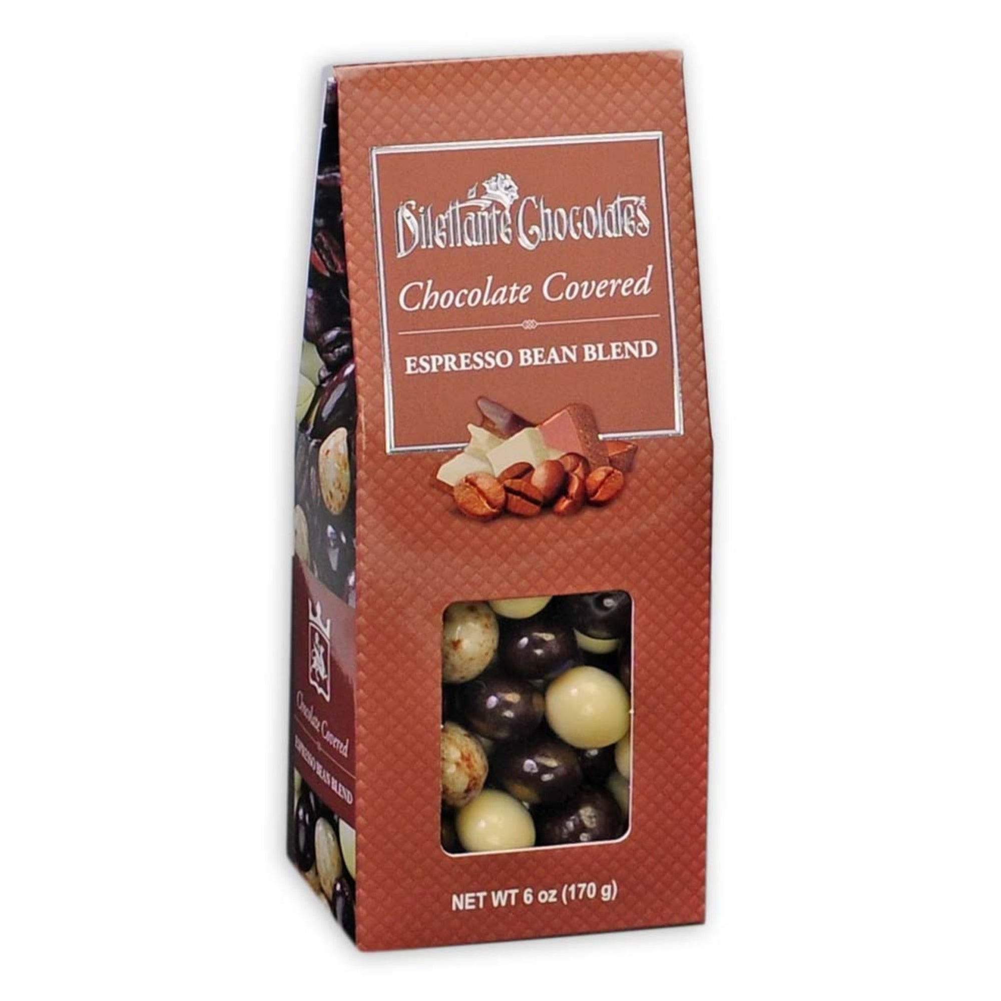 Dilettante Chocolates Chocolate-Covered Espresso Bean Blend in an Elegant Brown Gift Box