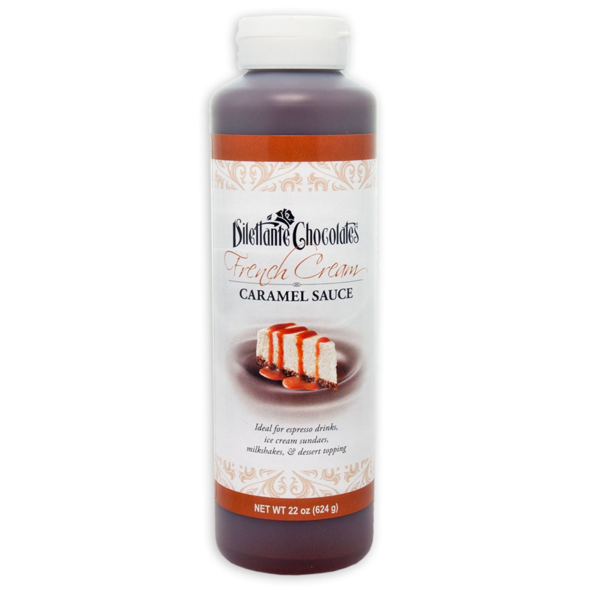 Dilettante Chocolates French Cream Caramel Sauce ideal of Espresso Drinks, Ice Cream Sundaes, Milkshakes, and Dessert Toppings