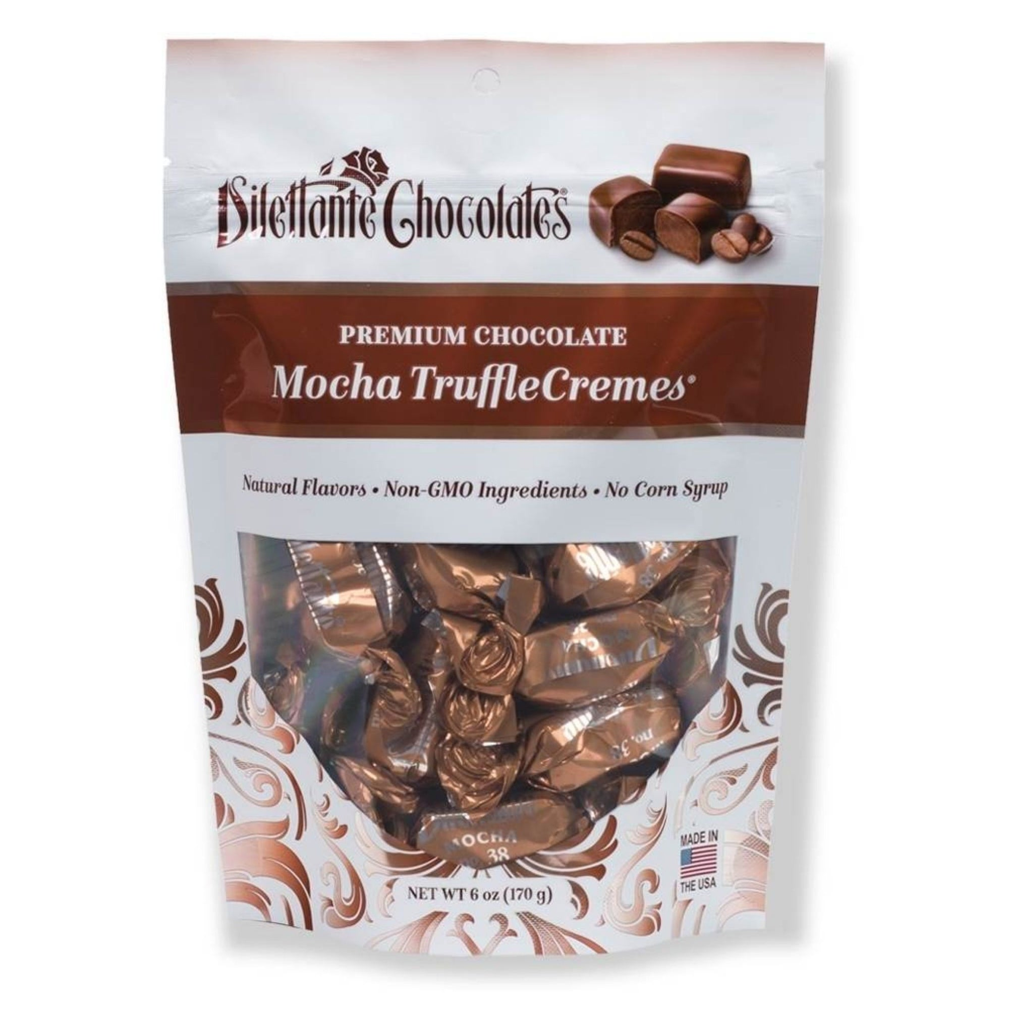 Dilettante Chocolates Mocha TruffleCremes Made with Natural Flavors Non-GMO Ingredients and No Corn Syrup