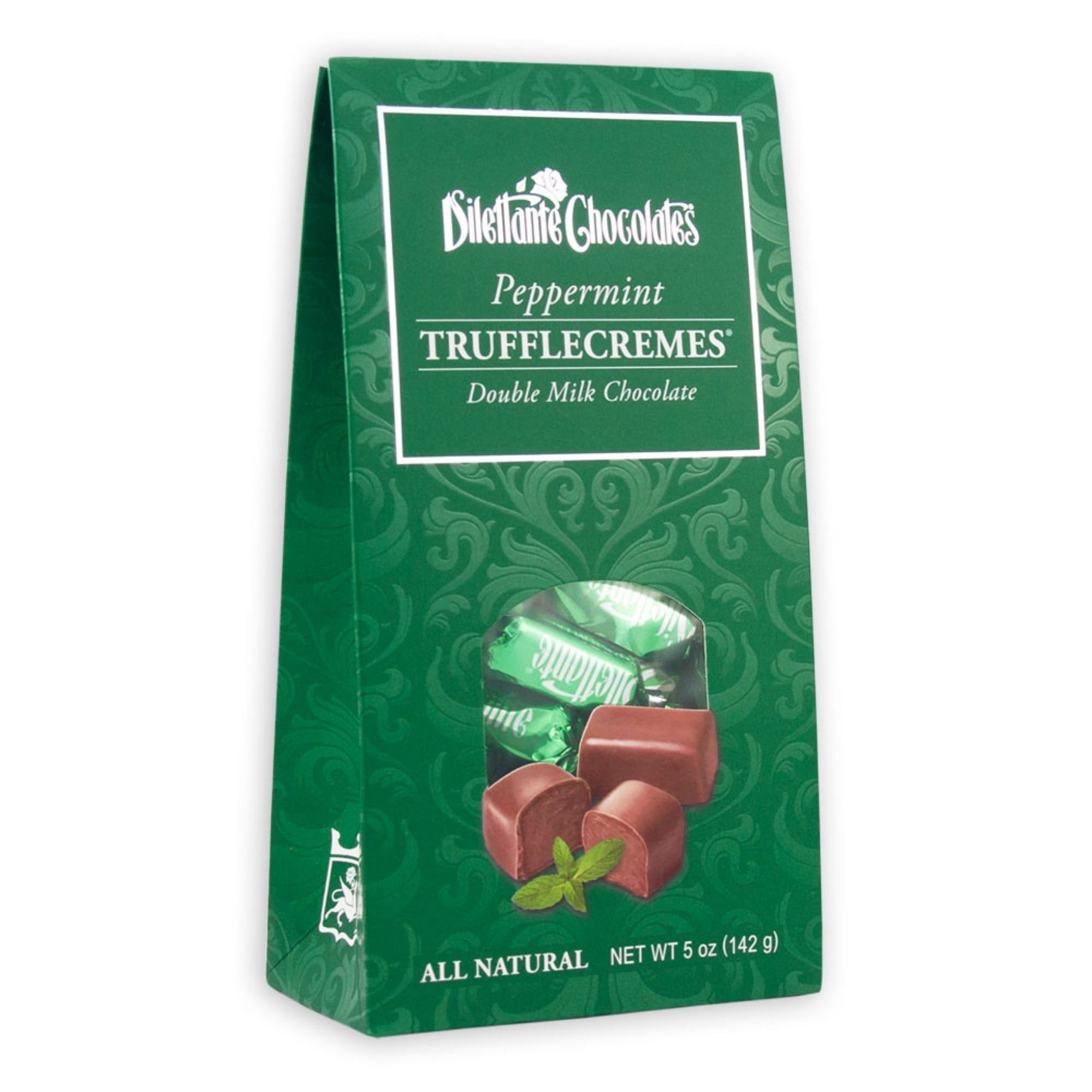 Dilettante Chocolates Peppermint TruffleCremes in a 5-Ounce Tent Box
