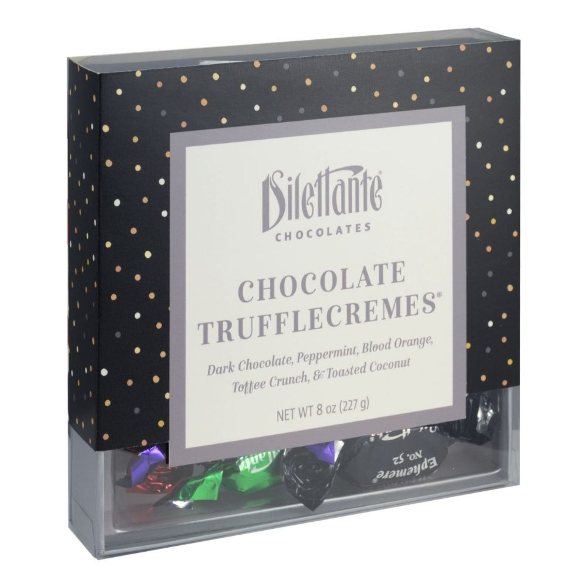 Dilettante Chocolates Assorted TruffleCreme Novelty Gift Back Featuring Peppermint, Blood Orange, Toffee, Crunch and Toasted Coconut