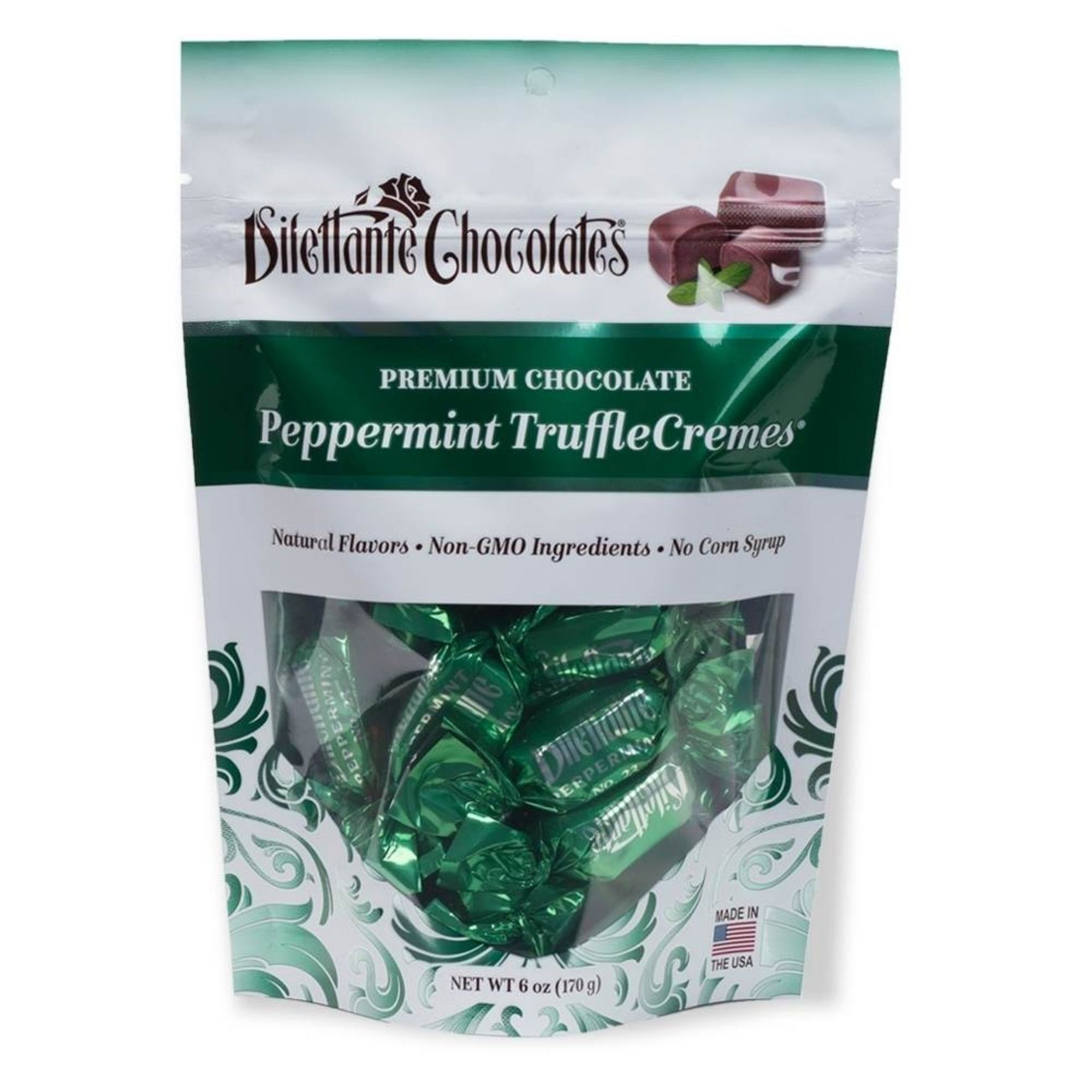 Dilettante Chocolates Premium Chocolate Peppermint TruffleCremes Featuring Natural Flavors, Non-GMO Ingredients, and 0 Corn Syrup