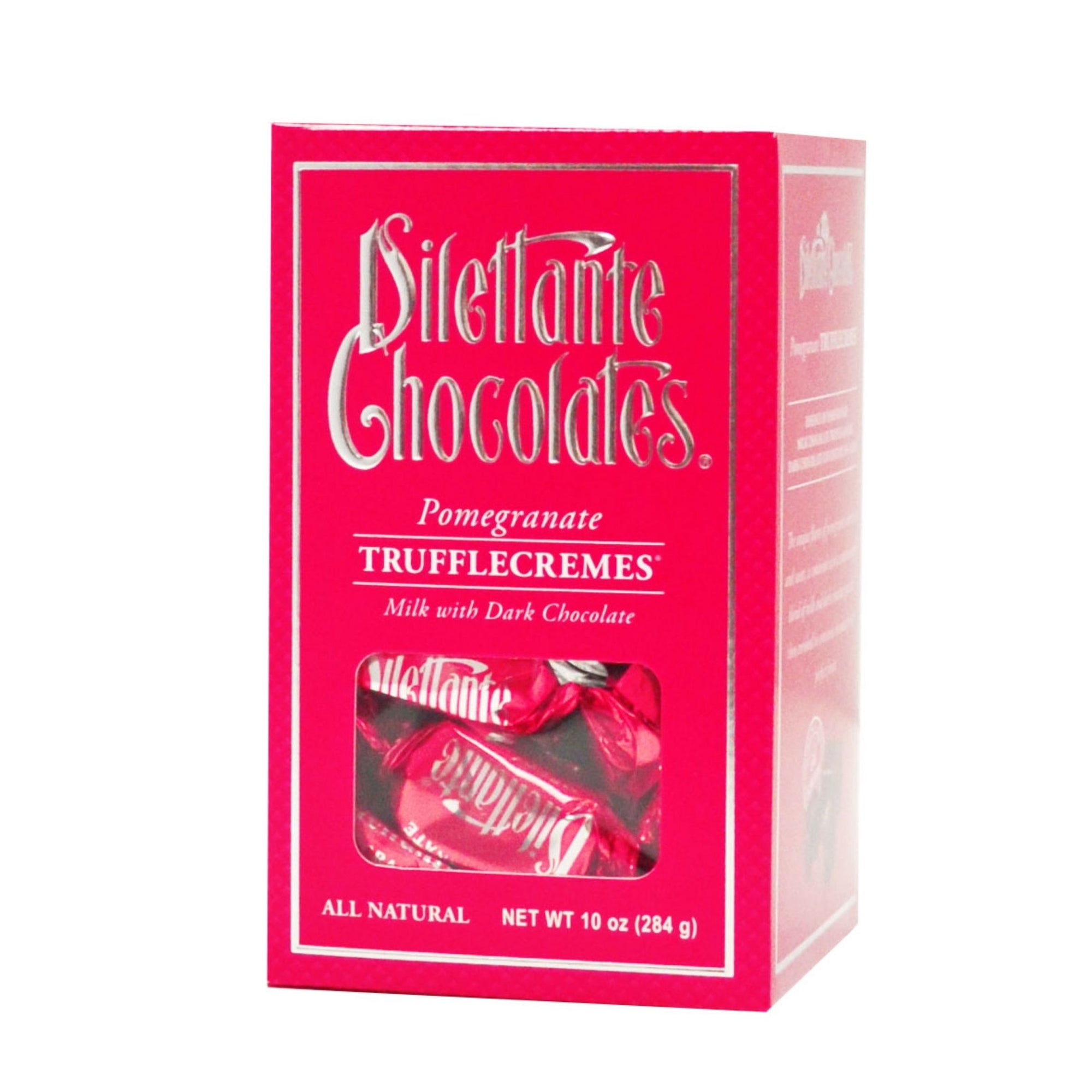 Dilettante Chocolates Pomegranate TruffleCremes Coated in Milk and Dark Chocolate in a Pink Gift Box
