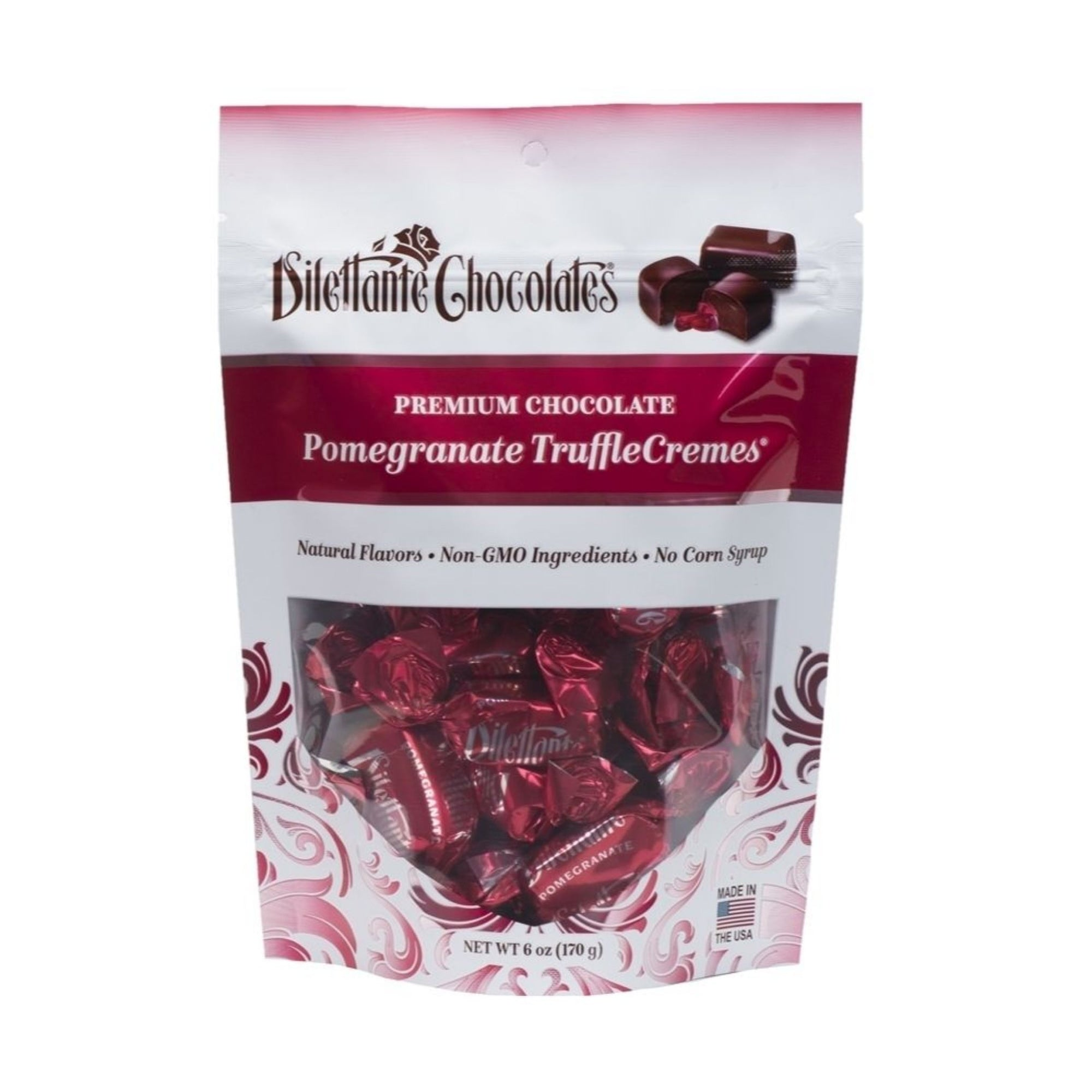 Dilettante Chocolates Premium Chocolate Pomegranate TruffleCremes Made with Natural Flavors, Non-GMO Ingredients and No Corn Syrup