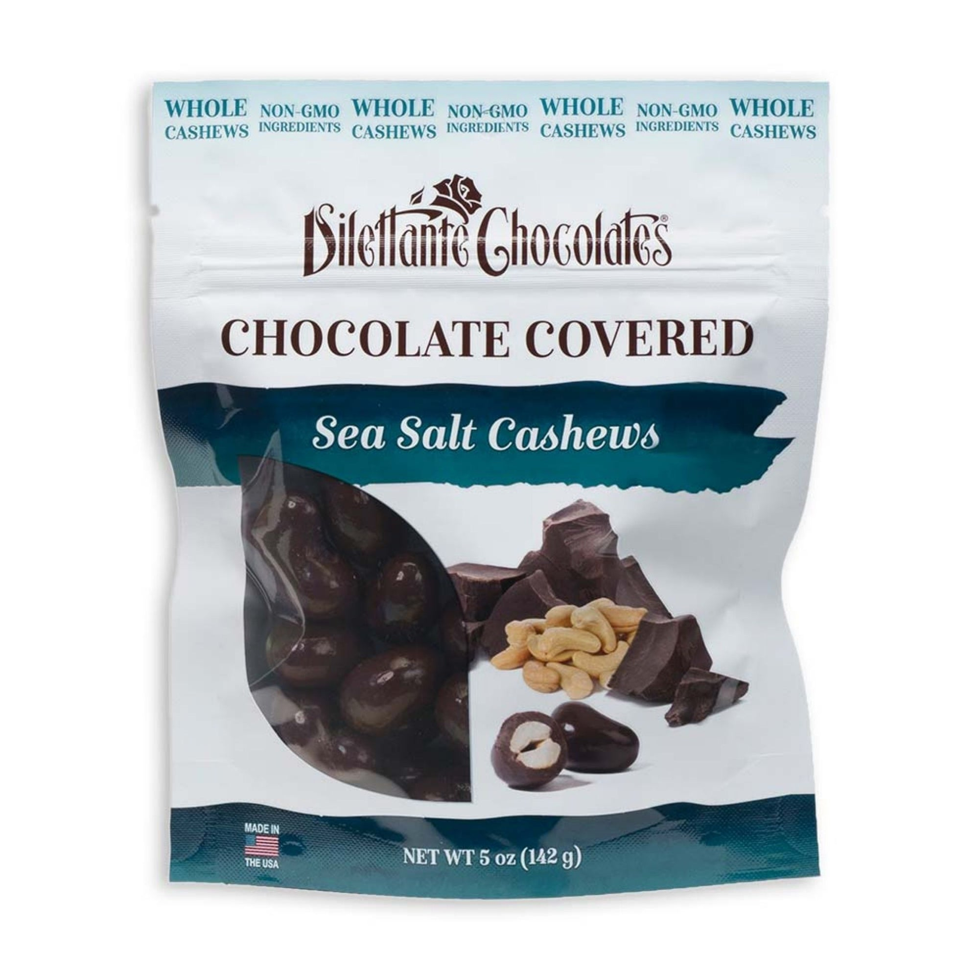 Dilettante Chocolates Chocolate-Covered Sea Salt Cashews in a 5-Ounce Bag