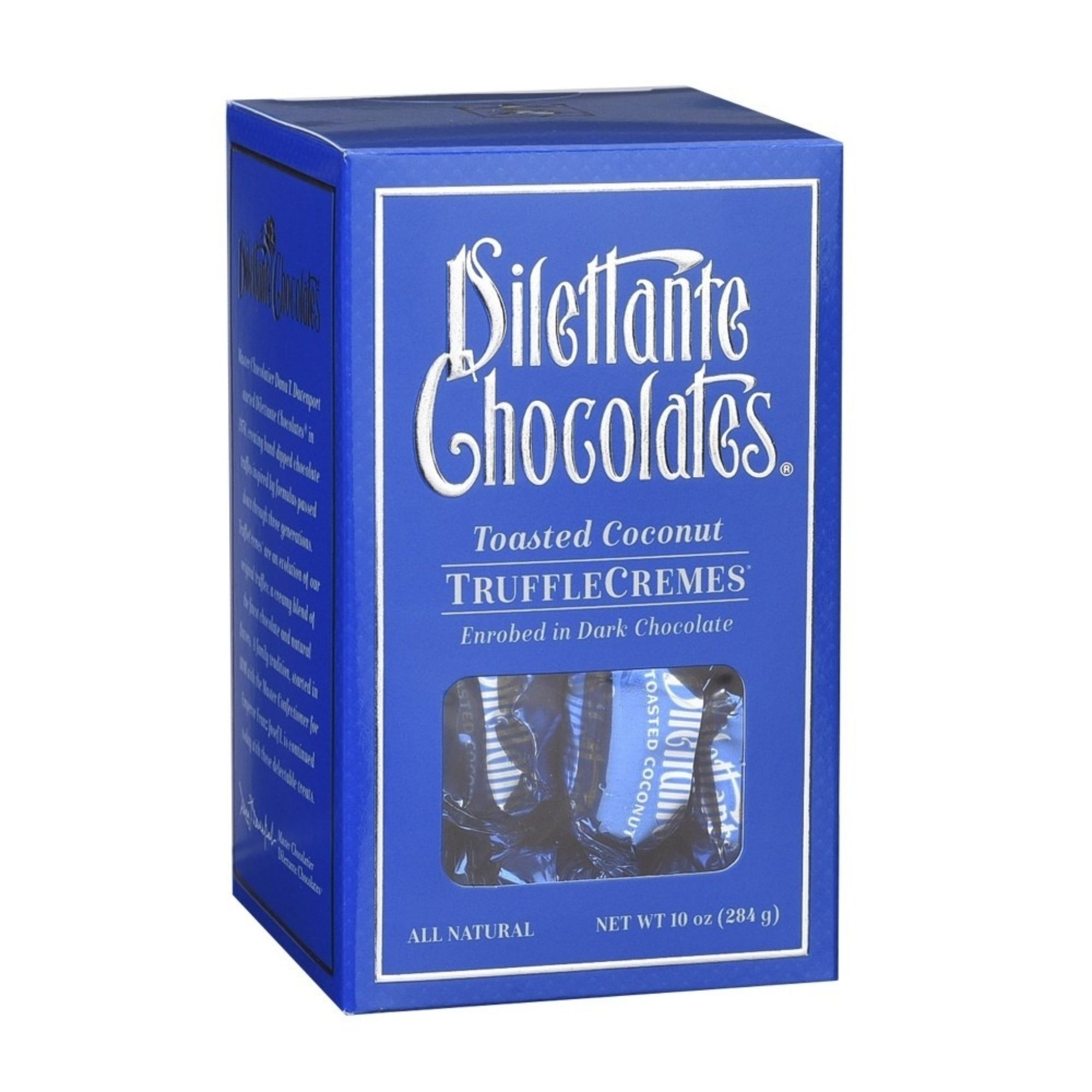 Dilettante Chocolates Toasted Coconut TruffleCremes Enrobed in Dark Chocolate and Made with Real Coconut Pieces