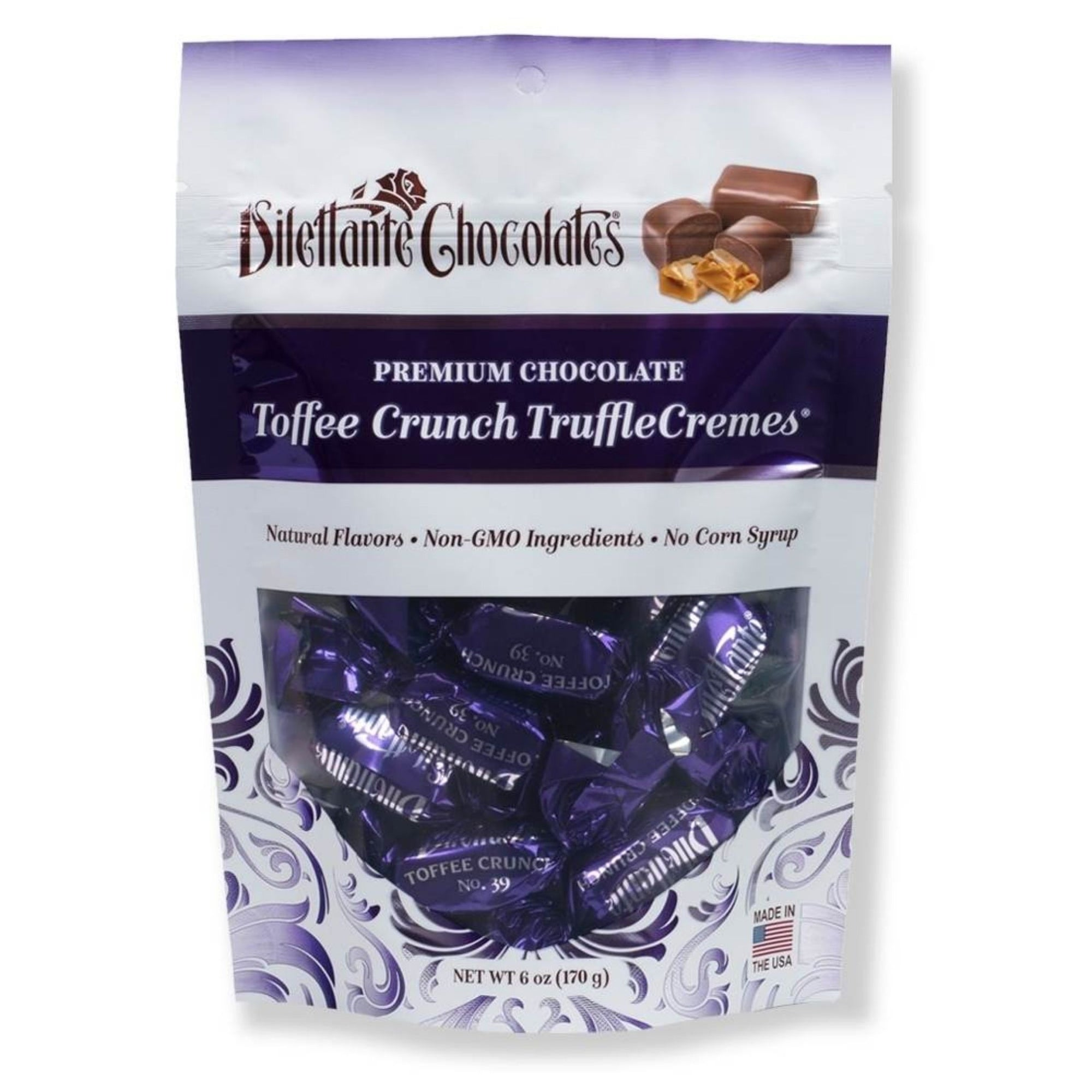 Dilettante Chocolates Premium Chocolate Toffee Crunch TruffleCremes Made with Natural Flavors Non-GMO Ingredients and No Corn Syrup