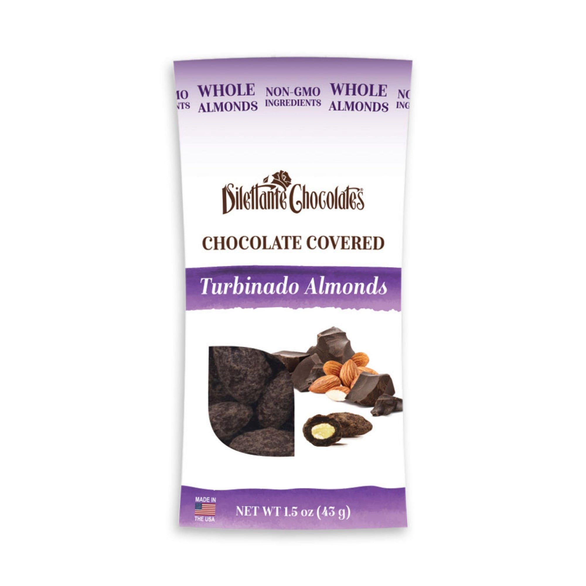 Dilettante Chocolates Chocolate-Covered Turbinado Almonds Made with Whole Almonds and Non-GMO Ingredients