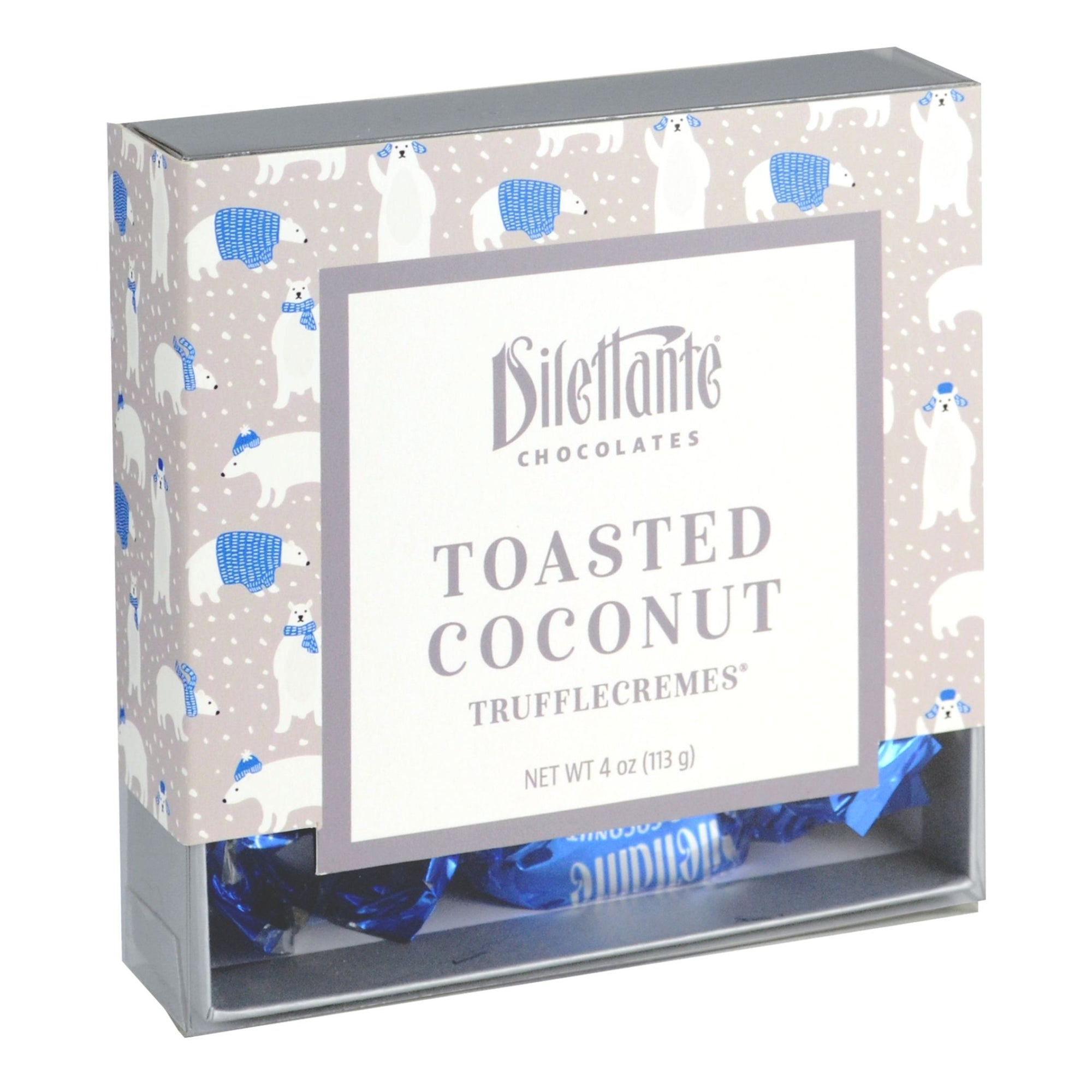 Dilettante Chocolates Toasted Coconut TruffleCreme Novelty Gift Box with Illustrations of Polar Bears
