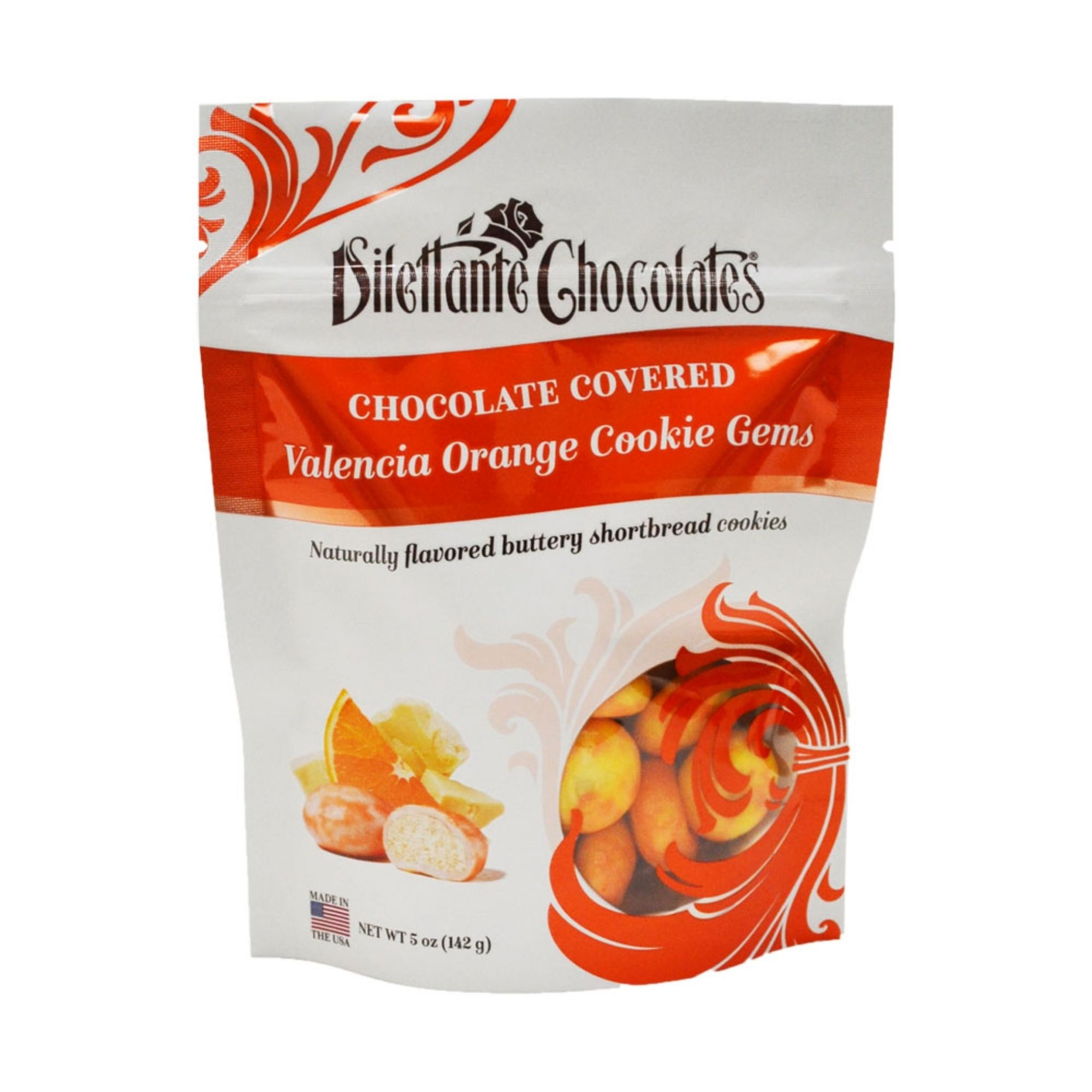 Dilettante Chocolates Chocolate-Covered Valencia Orange Cookie Gems Naturally Flavored Buttery Shortbread Cookies In a 5-Ounce Orange Bag