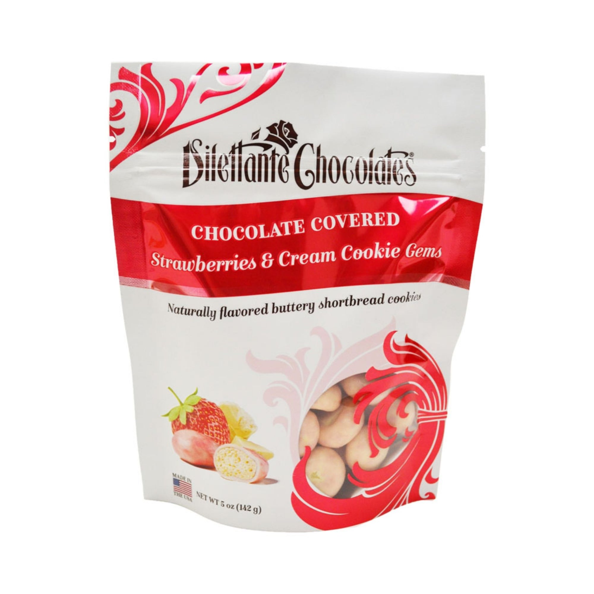 Dilettante Chocolates Chocolate-Covered Strawberries and Cream Cookie Gems Naturally Flavored Buttery Shortbread Cookies