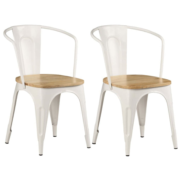 Dining Chairs 2 pcs White Solid Mango Wood - Dining Chairs - Dot On Top