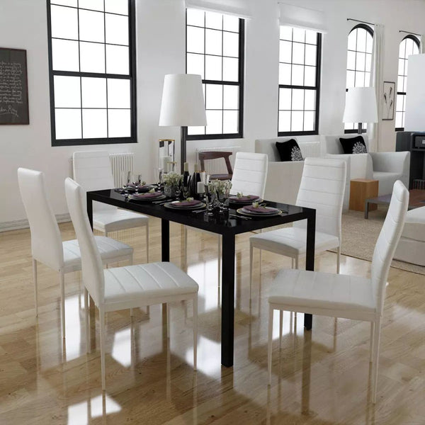 Seven Piece Dining Table and Chair Set Black and White - Dining Sets - Dot On Top